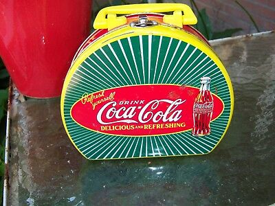 Vintage Coca-Cola Brand Tin Lunchbox - Mini - Bright Yellow,Green, and Red