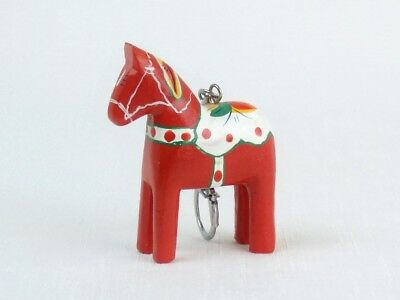 Hand Painted Wood Swedish DALA HORSE KEYRING Key Chain