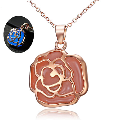 Pendant Necklace Magical Glow Dark Luminous Fairy Charm Steampunk Rose Gift NEW