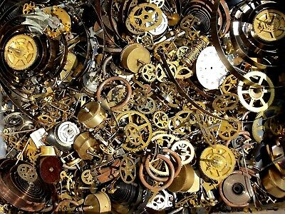 16 oz 1 pound of Clock Parts Gears Mainsprings and More for repair Steampunk art