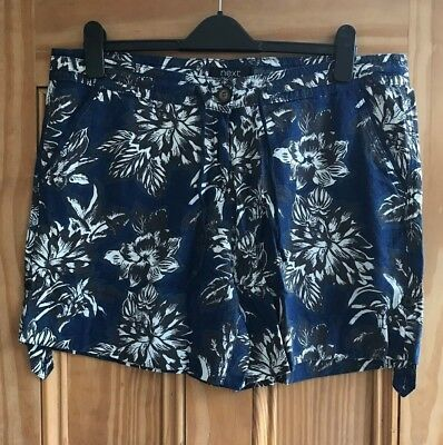 NEXT New Blue White Pink Floral Hawaiian Linen Roll-Up Shorts Plus Size 18 - 28