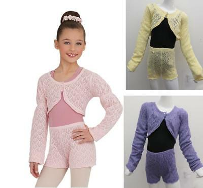 NEW Dance Shrug/Shorts CHILD SIZES Knit Sweater Lavender Yellow Ballet CLOSEOUT