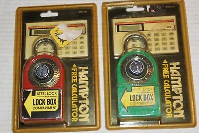 Hampton Steel Combination Locks With Lock Box and Calculator NOS NEW 1991 Vtg