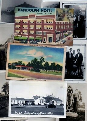ARKANSAS,Fulton,Eldorado,Wright,Osceola,Benton 3 orig vntg postcards& 9 photos.