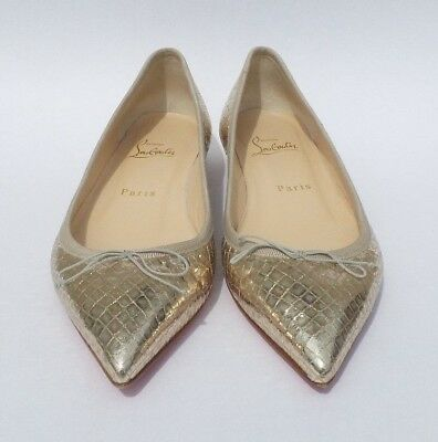 Christian Louboutin Solasofia Lame Sirene Gold Leather Point Ballet Flats 36 5