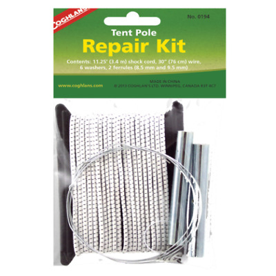 Coghlan's Tent Pole Repair Kit, Inc Shock Cord,Wire,Ferrules Washers,