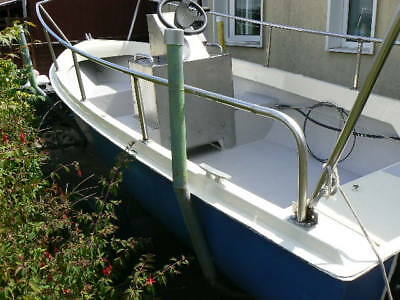 Used Fibreglass 15 foot river boat with our board motor