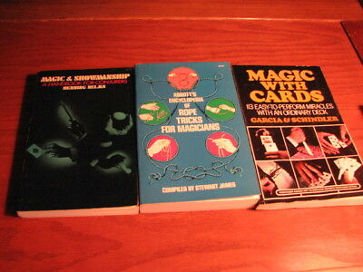 Lot of 3 Books - 1969 to '75 - Magic With Cards, Abbott's Rope Encyclopedia ++++