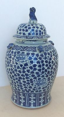 Blue And White Chinese Temple Vase  Qing Dynasty Large 68cm High 19th Century