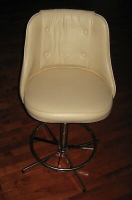 ADMIRAL INDUSTRIES Swivel Chair adjustable height beautiful white vinyl + chrome