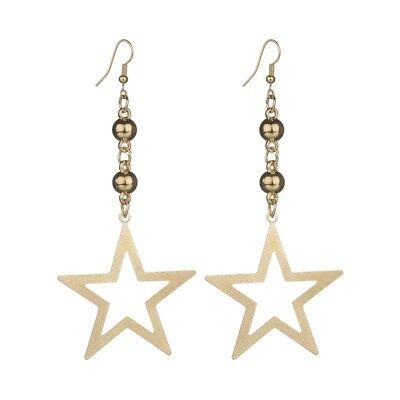 10cm LONG Earrings Stars Gold Drop Party Dangle Statement Large Lightweight Glam