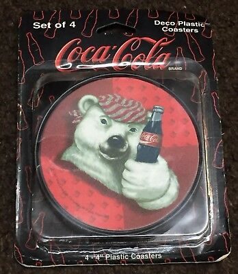 "Coca-Cola Coaster Set Of 4 Attitude Polar Bear Deco 4"" New In Box Packaging NIB"