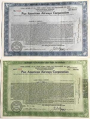 Two Vintage 1947 Pan Am: / Pan American Airways Stock Warrant Certificates