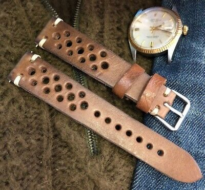 18 19 20mm Vintage Genuine Calf Leather Rally GT Watch Strap HM, Coffee Brown