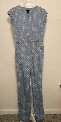Gap Kids Girls Romper Jumper Joggers Pants Cotton Floral Blue White XXL