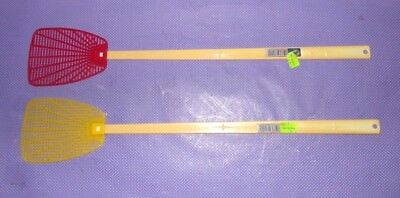 2 Vtg NOS New Alabaster Industries Inc Long Reach Fly Swatter Red Yellow Plastic