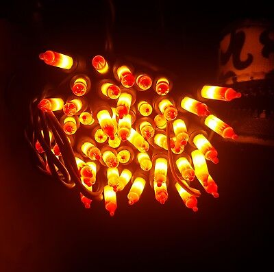 100 Halloween Candy Corn Lights, 2 Strings of 50 each,  Black Wire