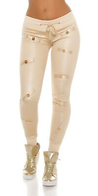 Trendy KouCla Joggers in Glanz- u. Stepp Optik beige