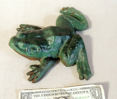 "Vintage Large 7"" Cast Iron FROG Doorstop with Original Paint Old Garden Decor"