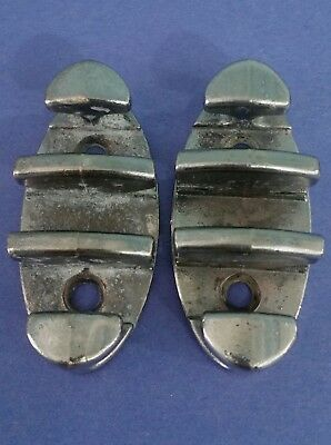 """Pair Vintage 3"""" Zig Zag Rope Boat Cleats Chrome Plated Bronze Marine Maritime"""
