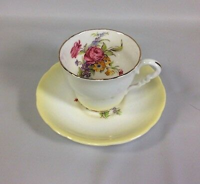 Royal Stafford Tea Cup Saucer Yellow Ombre Floral Spray Bone China VTG