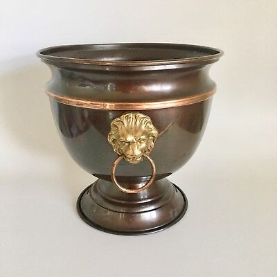 Vtg Copper Plant Pot Planter Brass Bucket Lion Head Ring Pulls Ice Bucket 8 3/4""