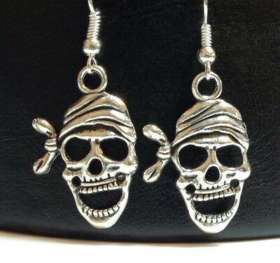 PIRATE SKULL_Earrings on Silver Plated Hook_Halloween Skeleton Goth Punk Rock
