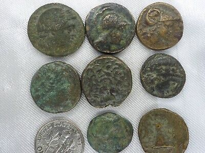 31m-1 LOT of 8pcs.ANCIENT Greek Bronze coins from 300 BC -100 AD
