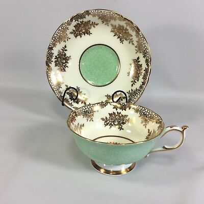 Paragon Double Warrant Tea Cup Wide Saucer Heavy Gold Filigree Green Design