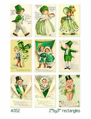 9 Vintage St Patrick's Day Children Hang Tags Scrapbooking Paper Crafts (134)
