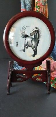 Old Chinese Embroidery Horse on a Rosewood Stand …beautiful display / collection