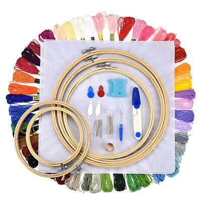Cross Stitch Embroidery Thread Starter Kit Craft DIY Tools Colorful Fabric-Set