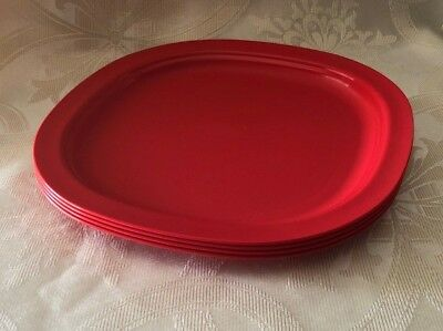 """Tupperware Microwave Reheatable Luncheon Plates  9 1/2"""" Poppy Red set of 4 NEW"""