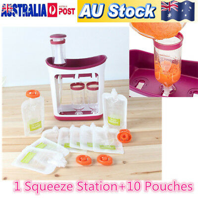 Infant Baby Feeding Food Squeeze Station Fruit Maker Dispenser Storage Kit DIY B