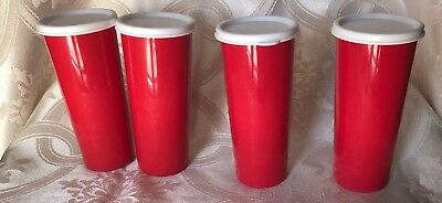 Tupperware Brand New Set of 4 Tumblers16 oz Poppy Red With White Seals