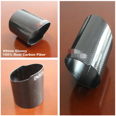 89mm Glossy Carbon Fiber&Stainless Steel High Flow Exhaust Muffler Tip Cover
