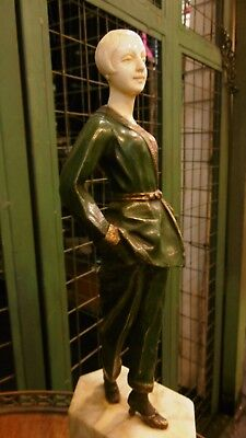 Antique Art Deco Bronze figure chriselefantine of a woman in pijamas nightdress