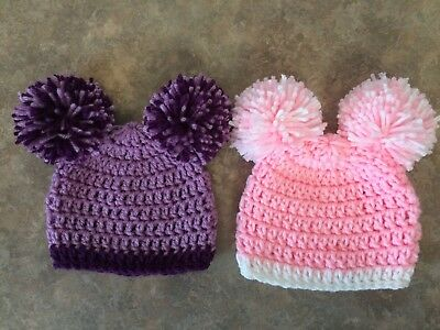 Crochet Hat Set newborn - 3 month baby Girl Photo Prop Double Pompom Shower Gift