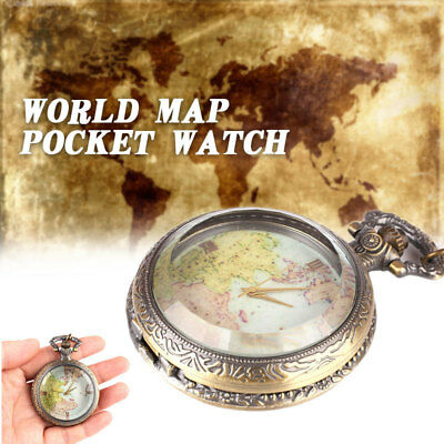 A87B Fob Pocket Watch Vintage Retro World Map Copper Hanging Chain Jewelry