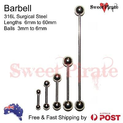 Surgical Steel Barbell 14ga Body Piercing Bar Ring Tongue Ear Nipple 1pc