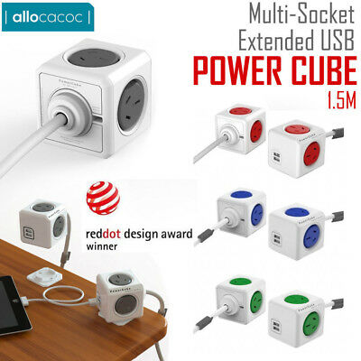 Allocacoc PowerCube Extended 4 Outlets and 2 USB Ports 1.5M Power Board AU