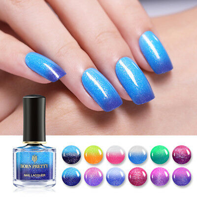 6ml BORN PRETTY Glitter Color Changing Nail Polish Thermal Nail Art Varnish Tool
