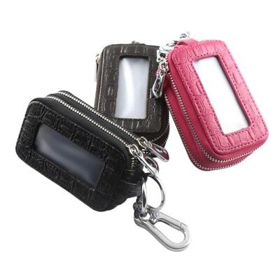 Car Key Holder Leather Double Zipper Case Home Outdoor Key Chains Bag Pouch AU