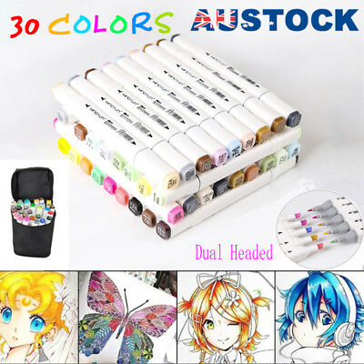 30 Colors Dual Headed Artist Sketch Copic Markers Pen For Animation Set AU T