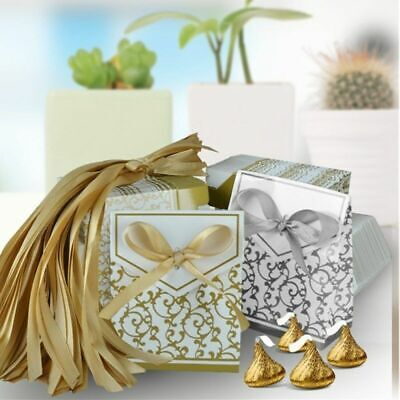 100pcs Gold Silver Paper Candy Boxes With Ribbon For Wedding Favor and Gifts Box