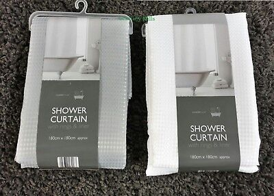 Luxury Waffle Shower Curtains,With Inner Liner And Hooks. In White Or Silver.