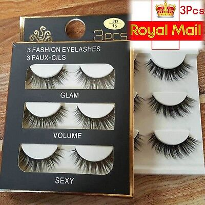 3Pairs Make Up 3D Natural Soft Handmade Thick Long Cross False Fake Eyelashes