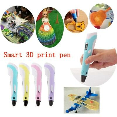 LCD Screen 3D Printing Pen Stereoscopic Drawing Arts Crafts+UK Plug+LAC material