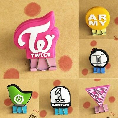 KPOP BTS ARMY GOT7 TWICE WANNAONE SEVENTEEN Metal Binder Clip Stationery 1PC