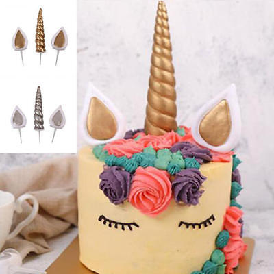 Gold Silver Unicorn Horns + Ears Cake Topper Birthday Cake Decoration Party Gift